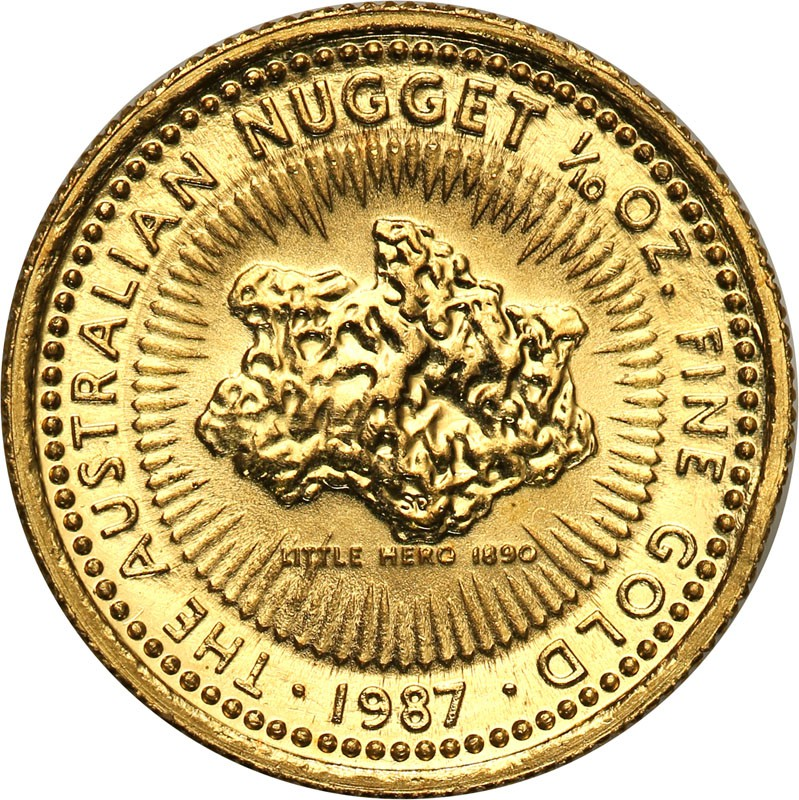 Australia Elżbieta II 25 dolarów 1987 Nugget (1/10 uncji złota) st.1
