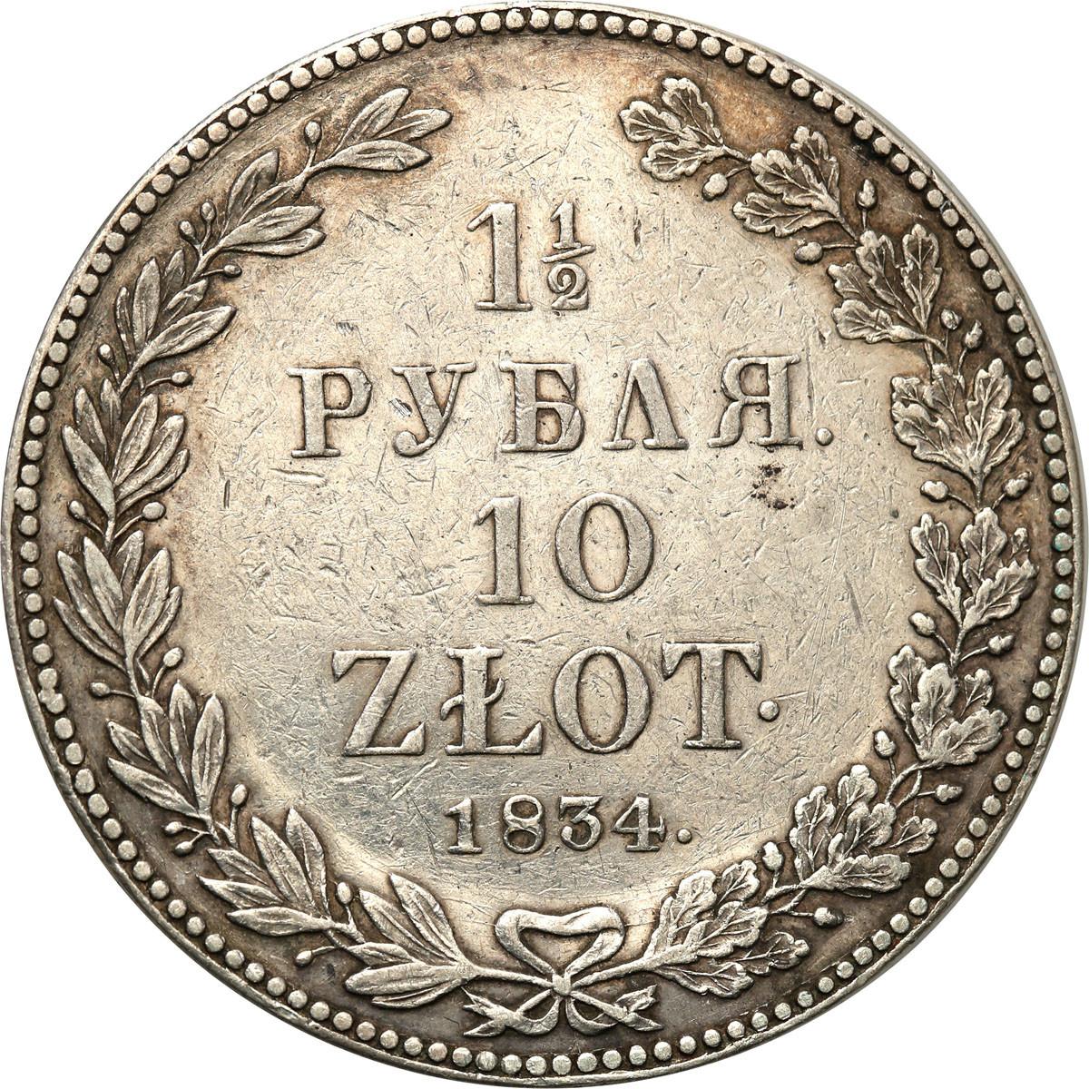 Polska XIX 10 złotych= 1/2 Rubla 1834 NG st. III+ /Sankt Petersburg/