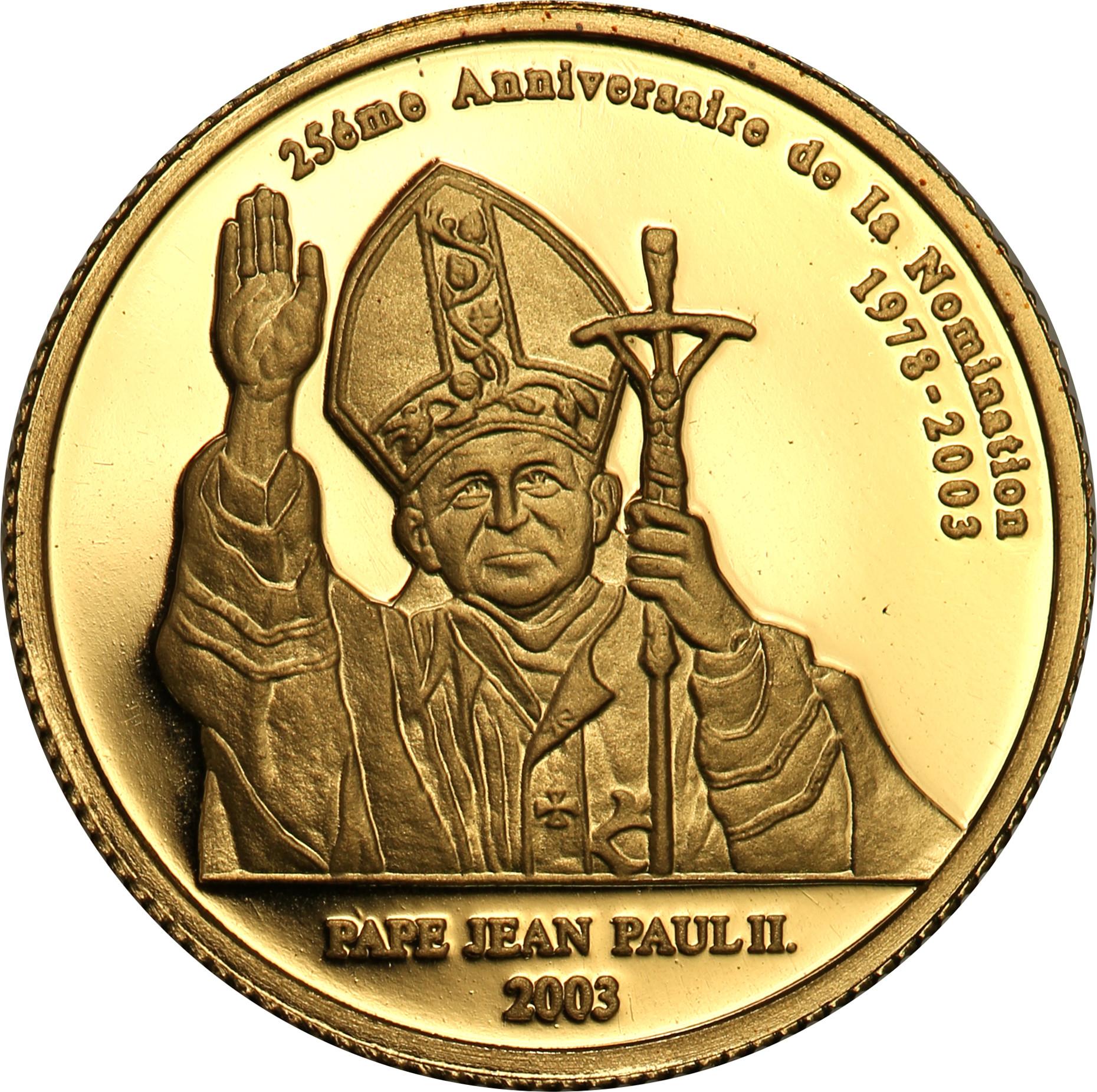 Rep. Kongo. 20 franków 2003 – 25 lecie pontyfikatu Jana Pawła II st.L