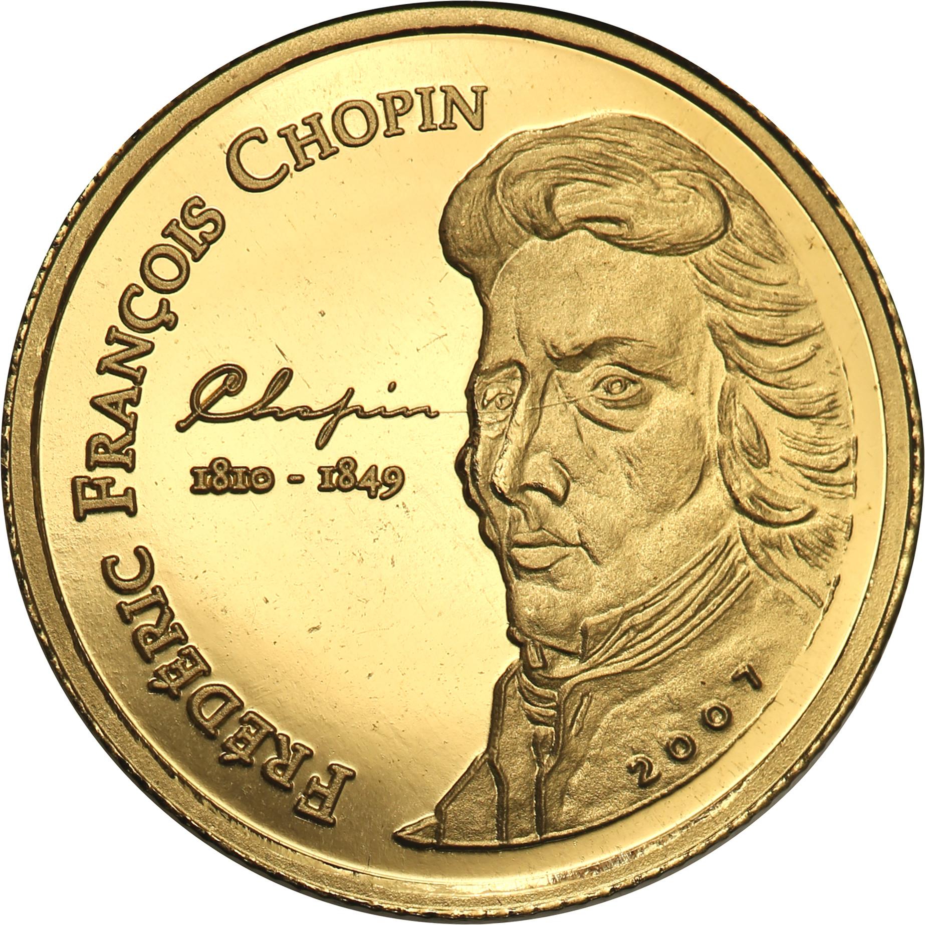 Wybrzeże Kości Słoniowej. 1500 franków 2007 Fryderyk Chopin st.L