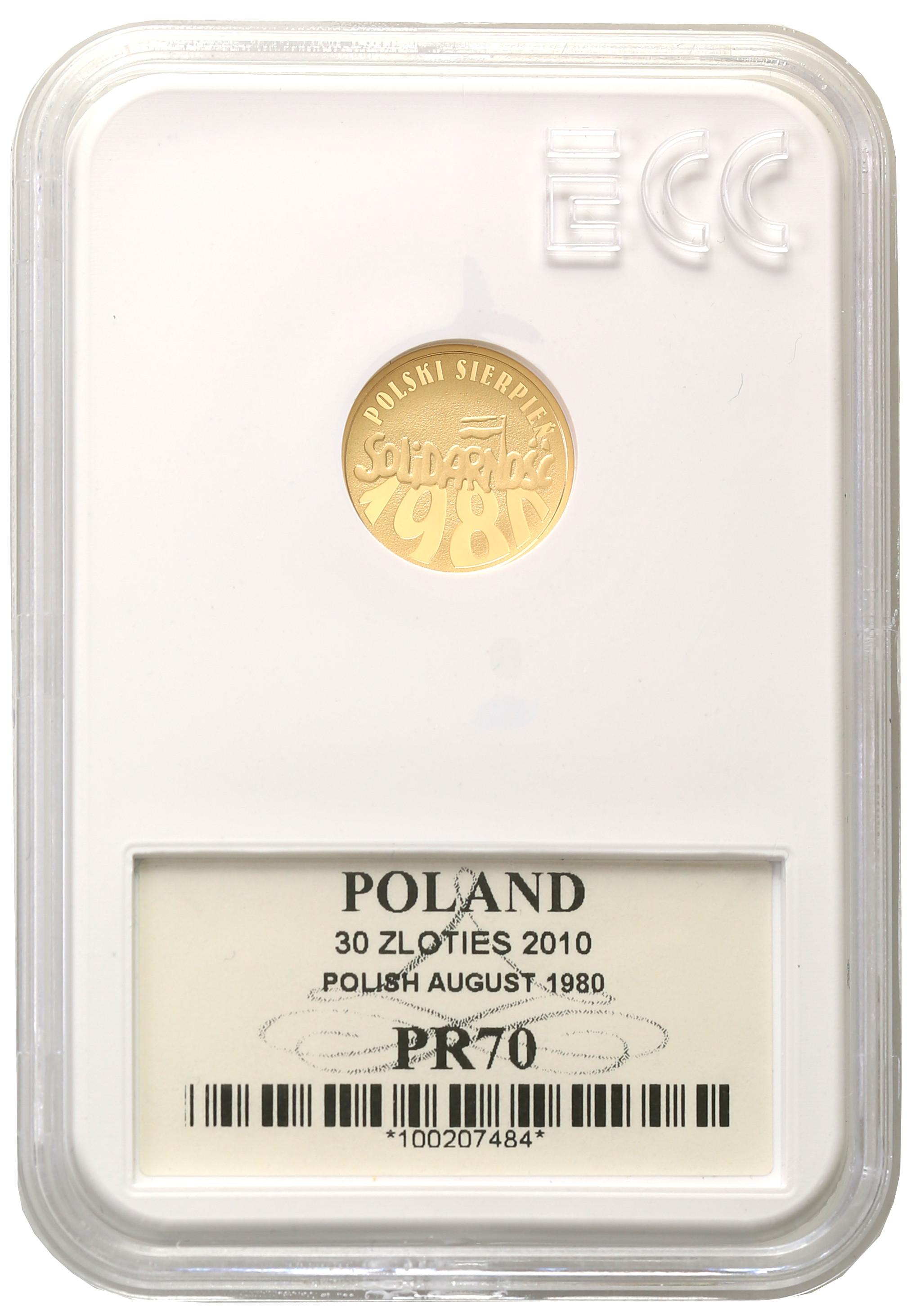 30 złotych 2010 Polski Sierpień 1980 Solidarność Grading PR70