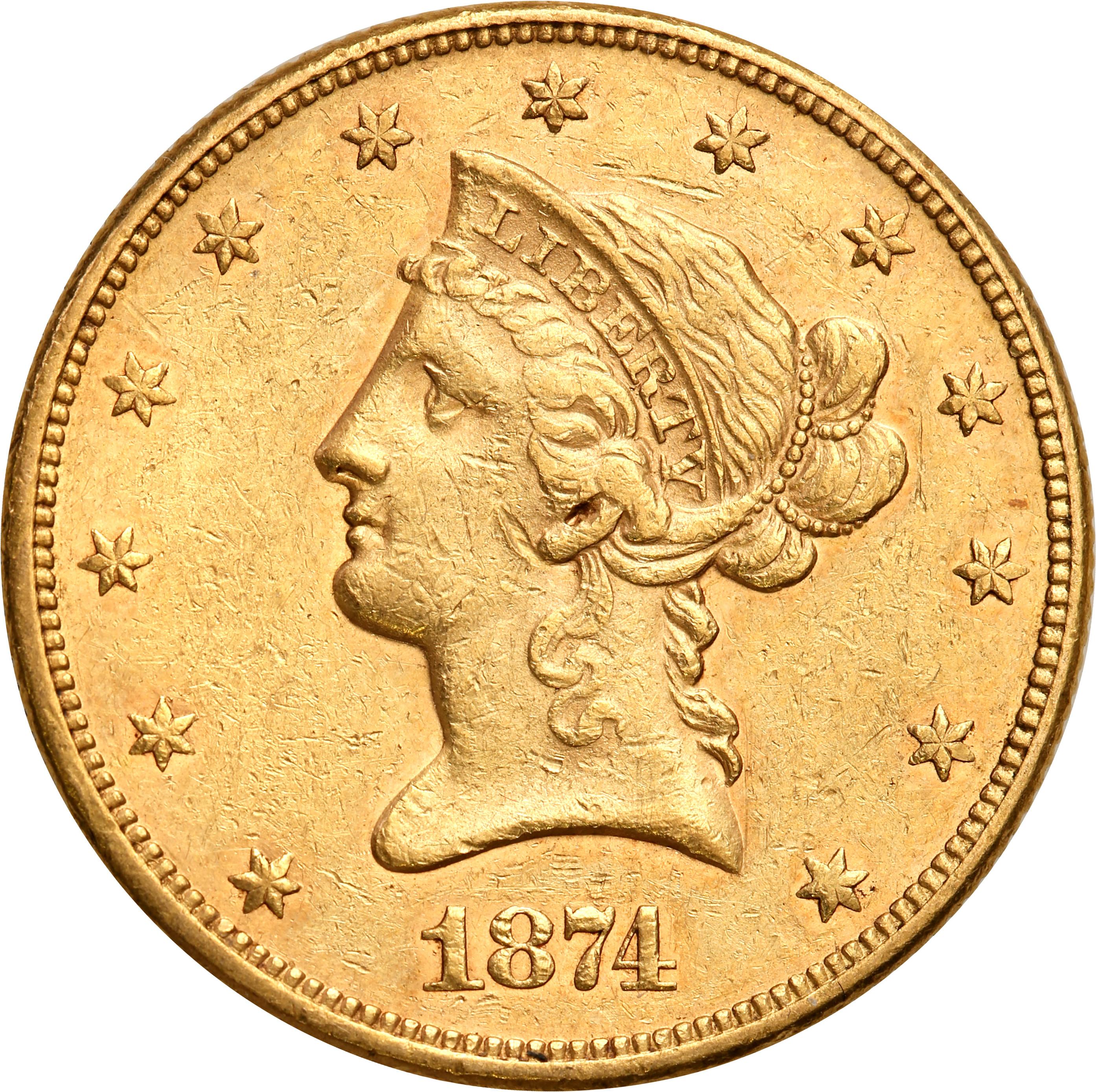 USA. 10 dolarów Liberty 1874 Filadelfia st.2-