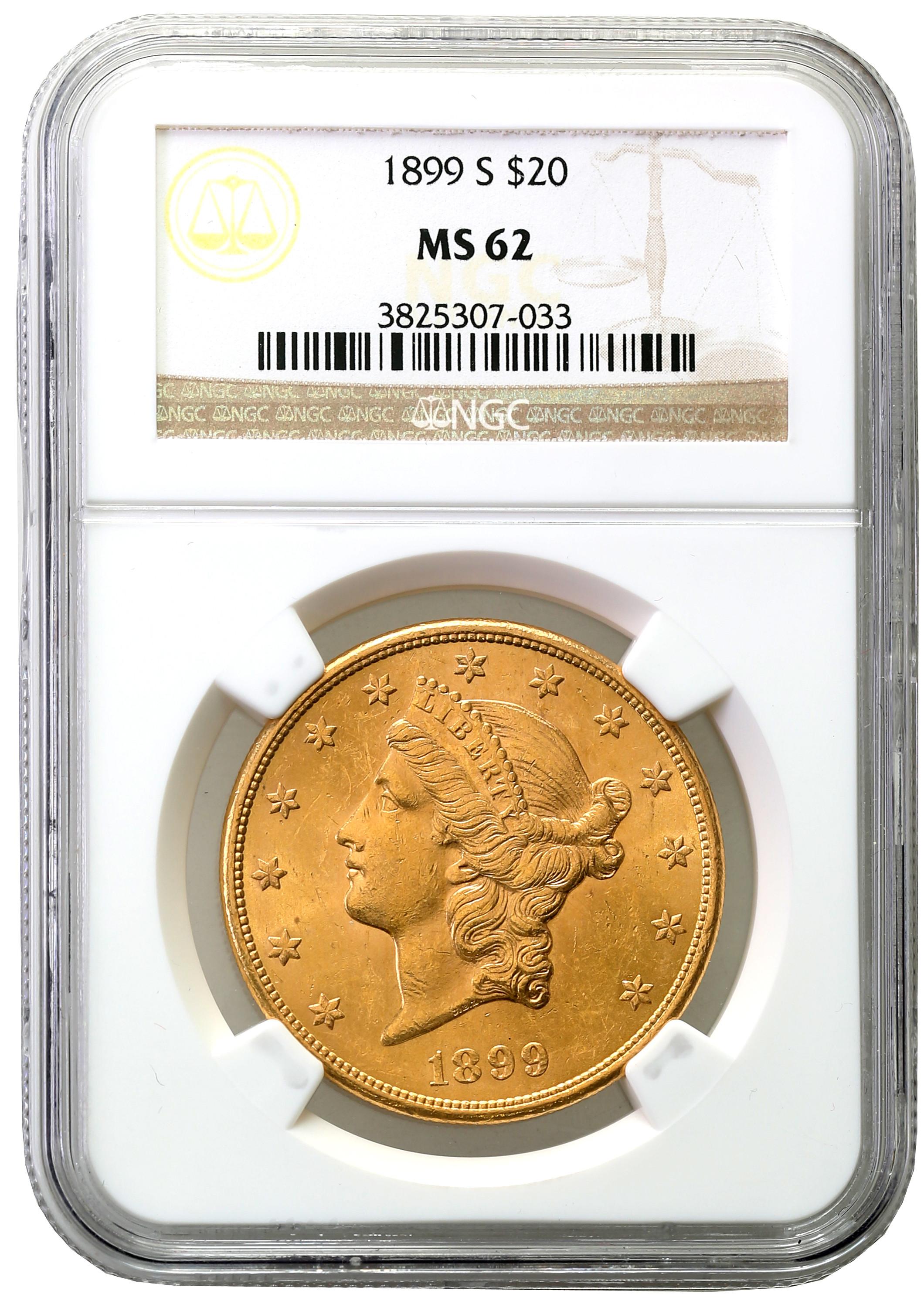 USA. 20 dolarów Liberty 1899 S - San Francisco NGC MS62