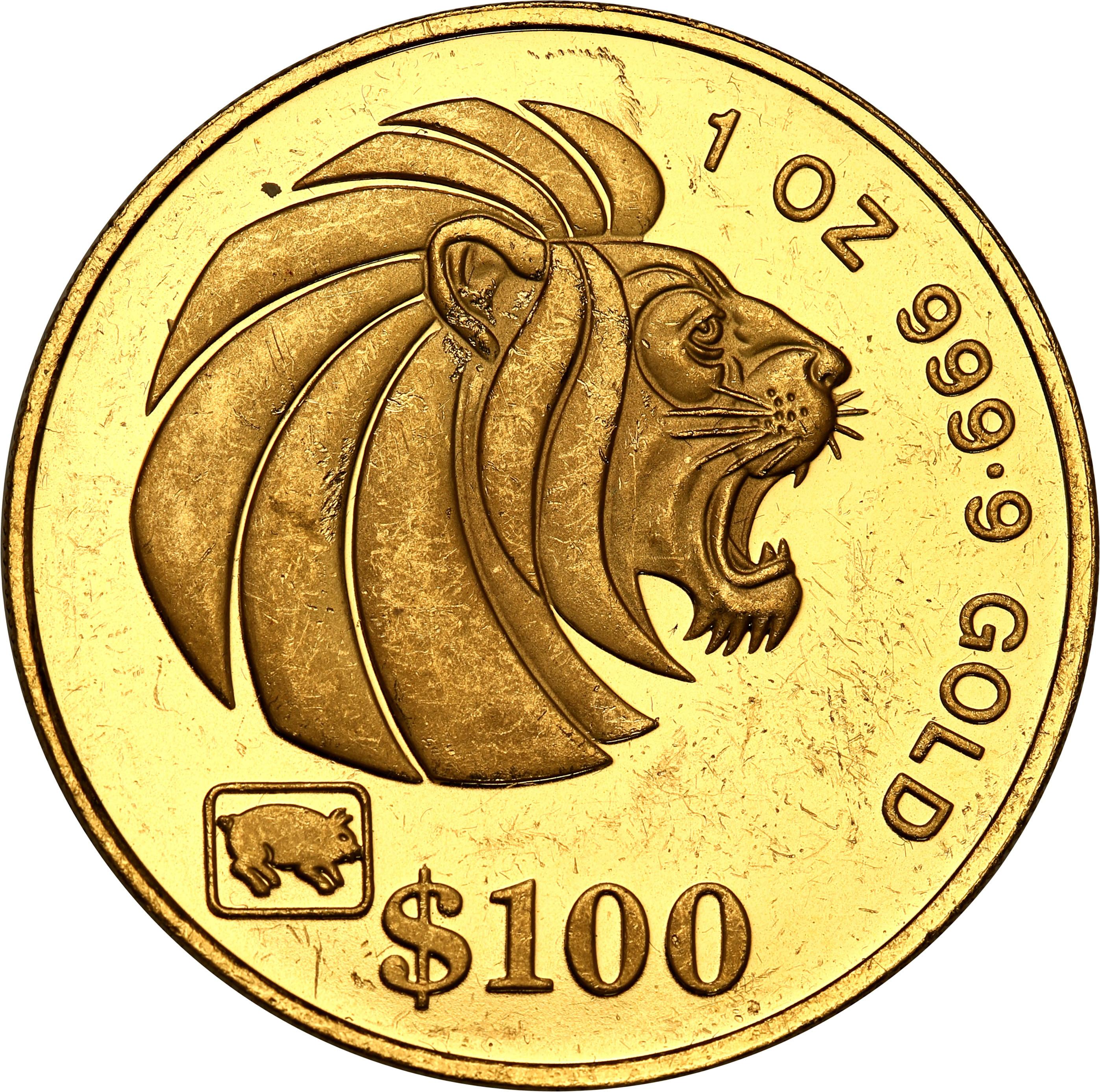 Singapur 100 dolarów 1995 st. L – uncja złota