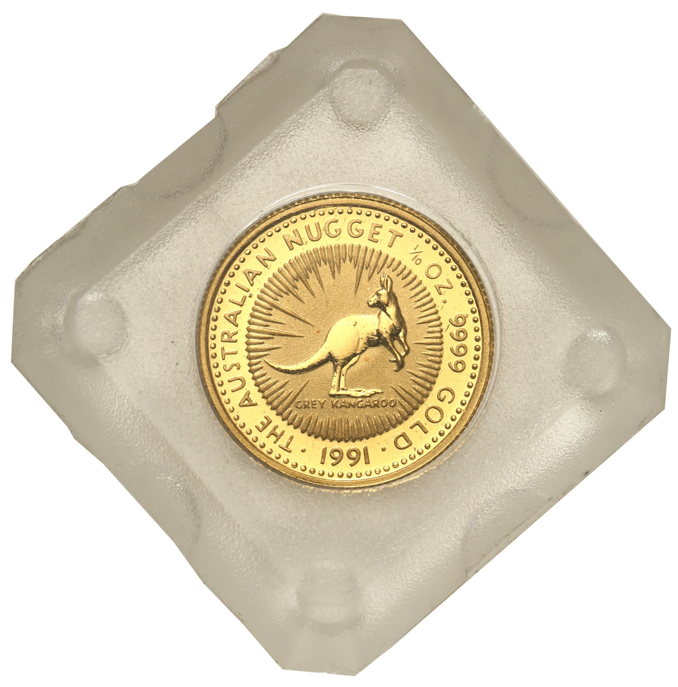 Australia. Elżbieta II 15 Dolarów 1991 kangur st.L – 1/10 uncji złota