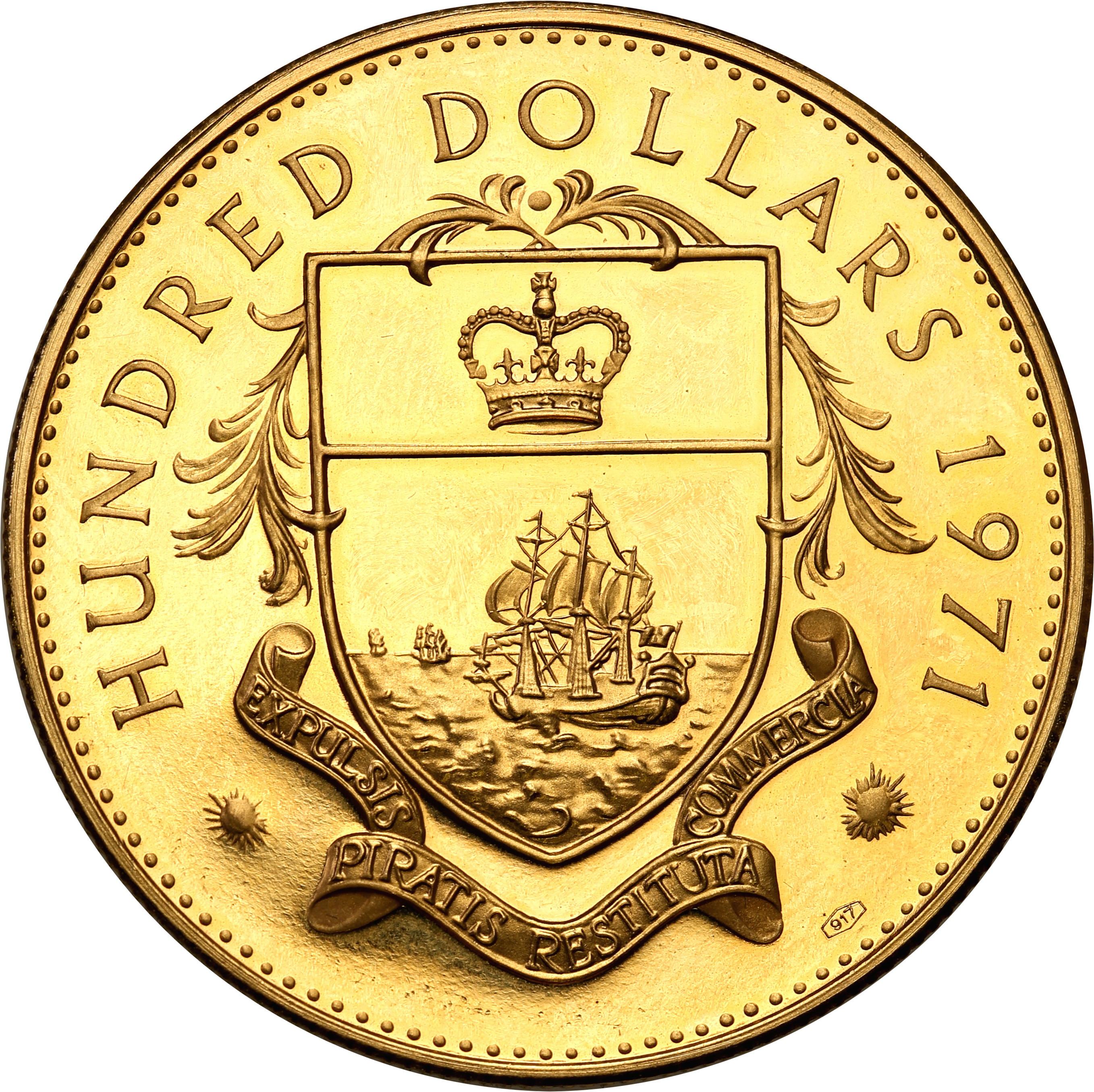 Bahamas. Eliżbieta II. 100 dolarów 1971 st.1/1-
