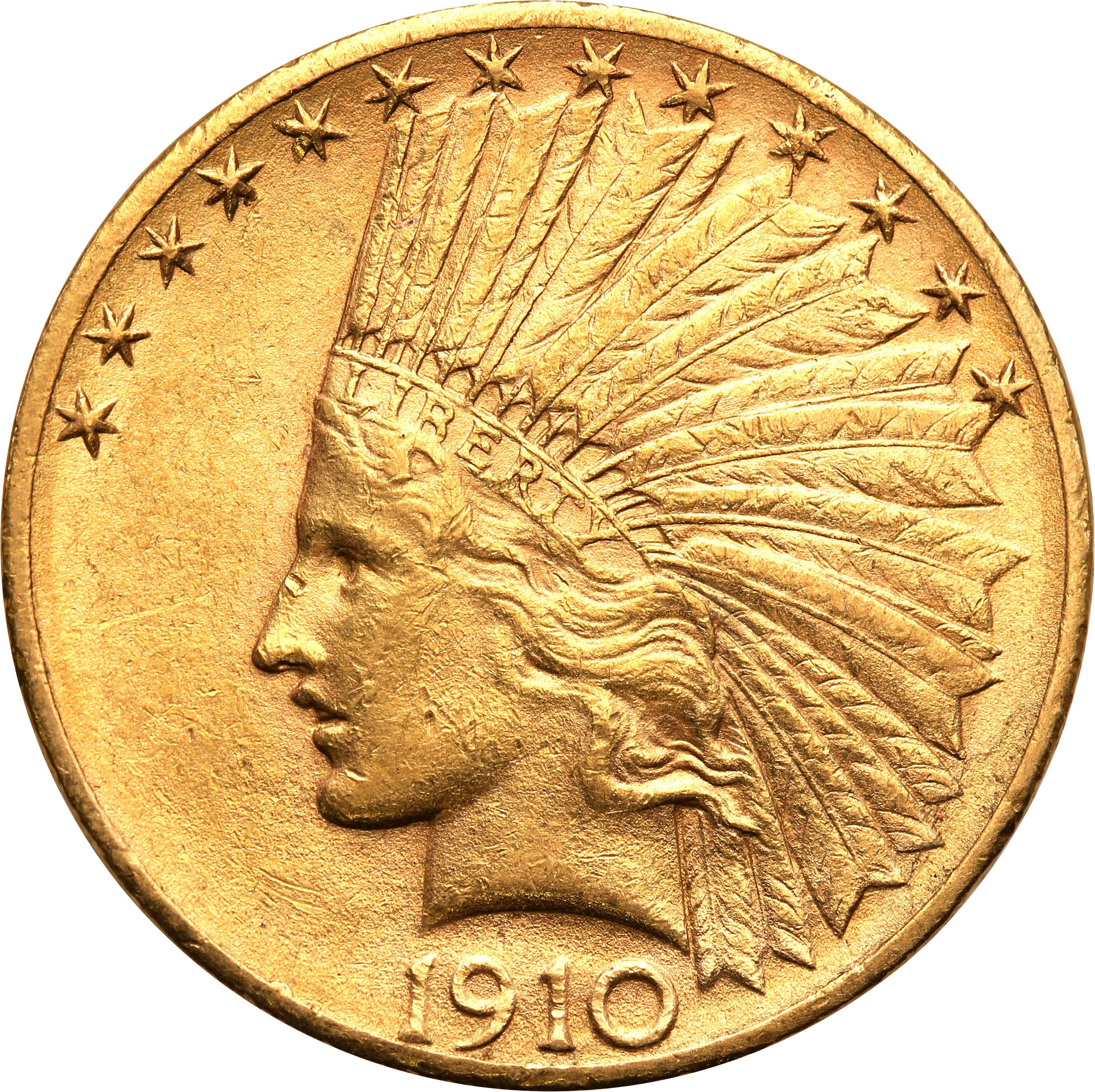 USA. 10  $ dolarów Indianin 1910 D Denver st.2+