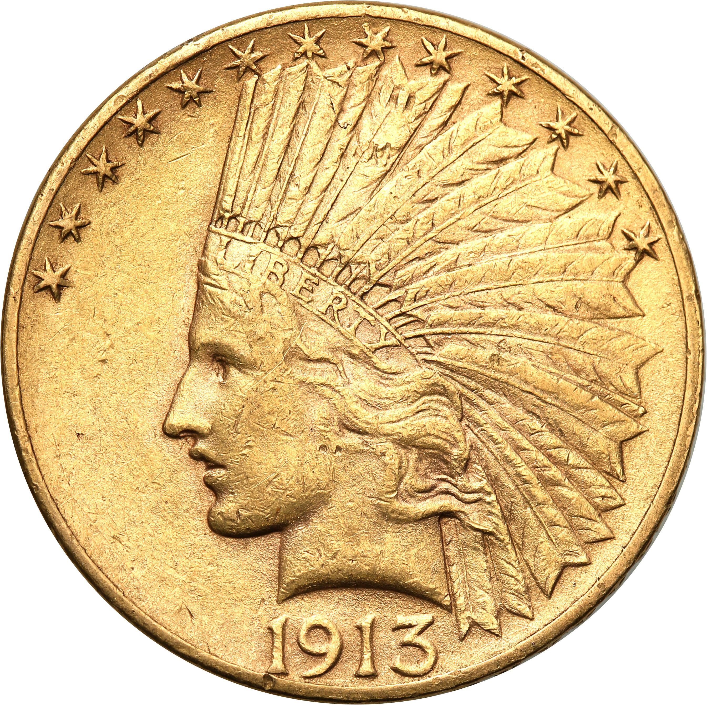USA. 10  $ dolarów Indianin 1913 Filadelfia st.2+