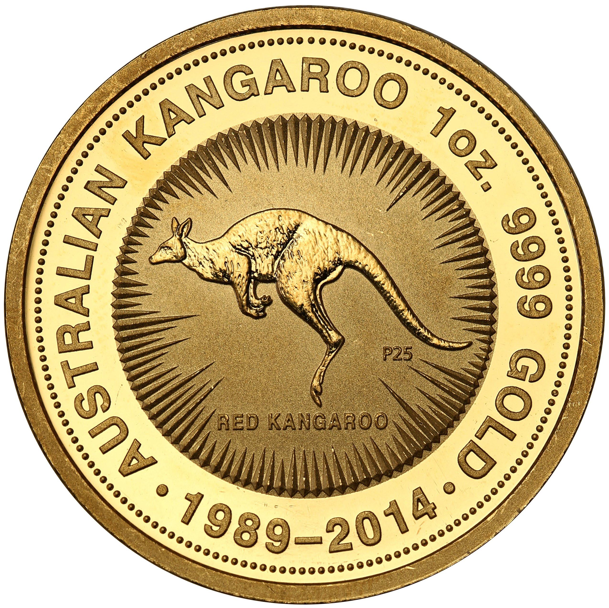 Australia. 100 dolarów 2014 kangur (uncja złota) st.L