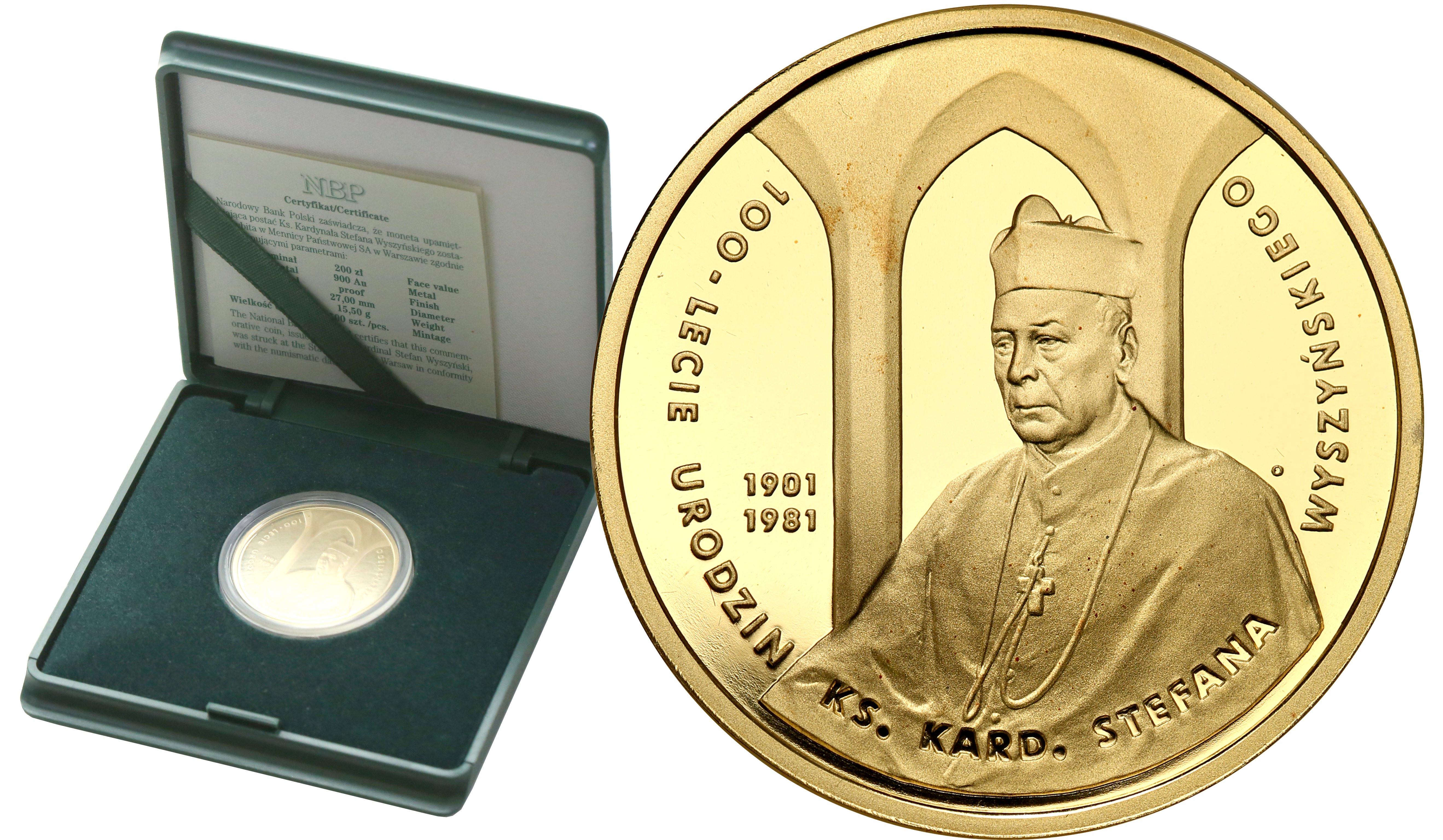 200 złotych 2001 Kardynał Wyszyński st.L