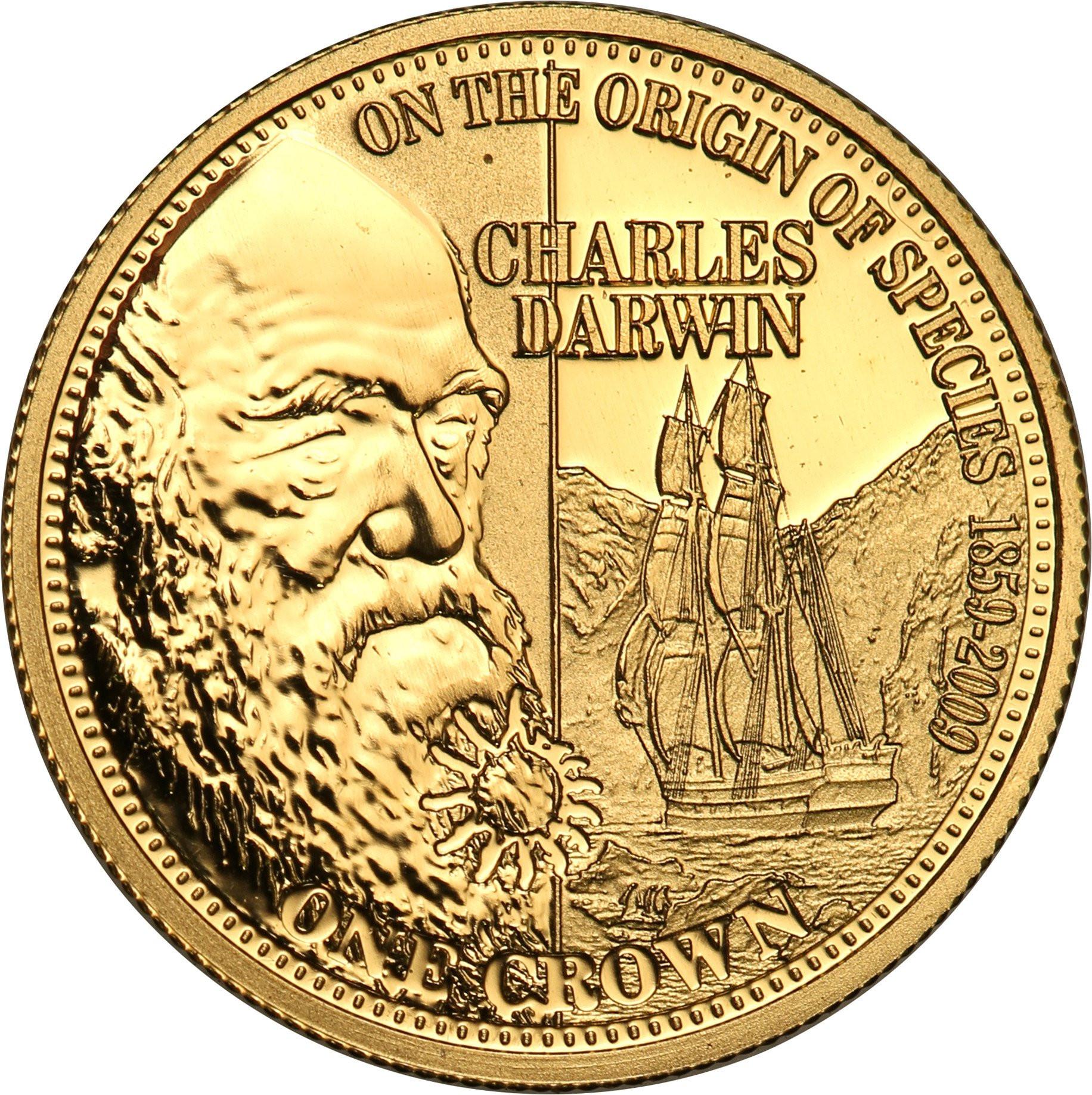 Tristan da Cunha 1 korona 2009 Charles Darwin