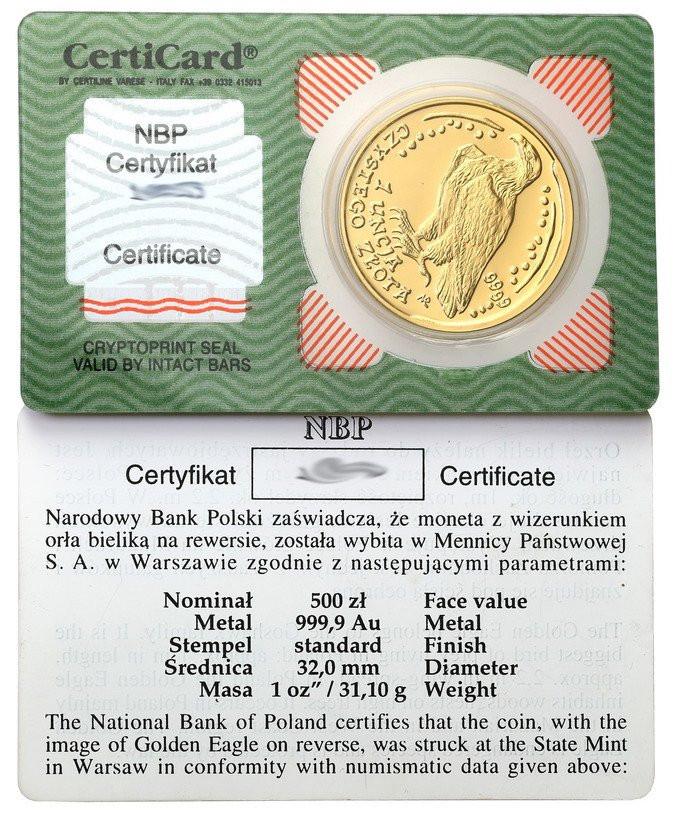 500 złotych 2002 Orzeł Bielik - 1 uncja złota - tylko 1000 szt! RZADKIE