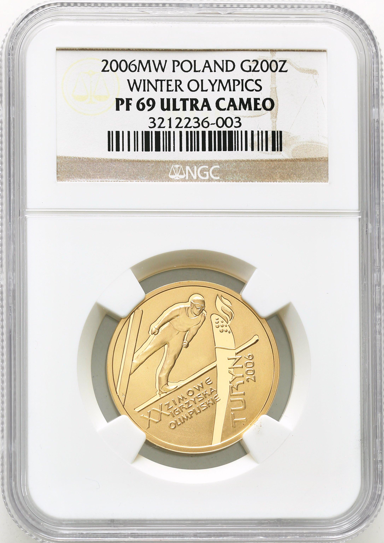200 złotych 2006 XX Igrzyska Zimowe Turyn NGC PF 69 ULTRA CAMEO (2MAX)