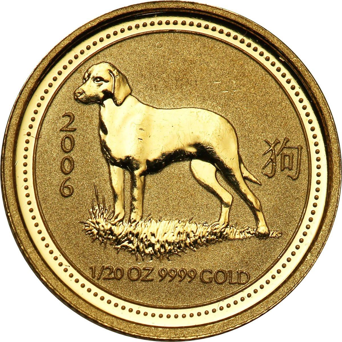 Australia 5 dolarów 2006 (1/20 uncji Au) Rok Psa st. L