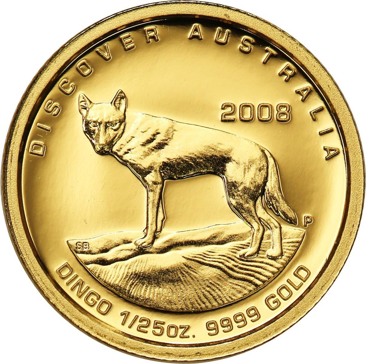 Australia 5 dolarów 2008 Pies DINGO - 1/25 uncji złota - st.L