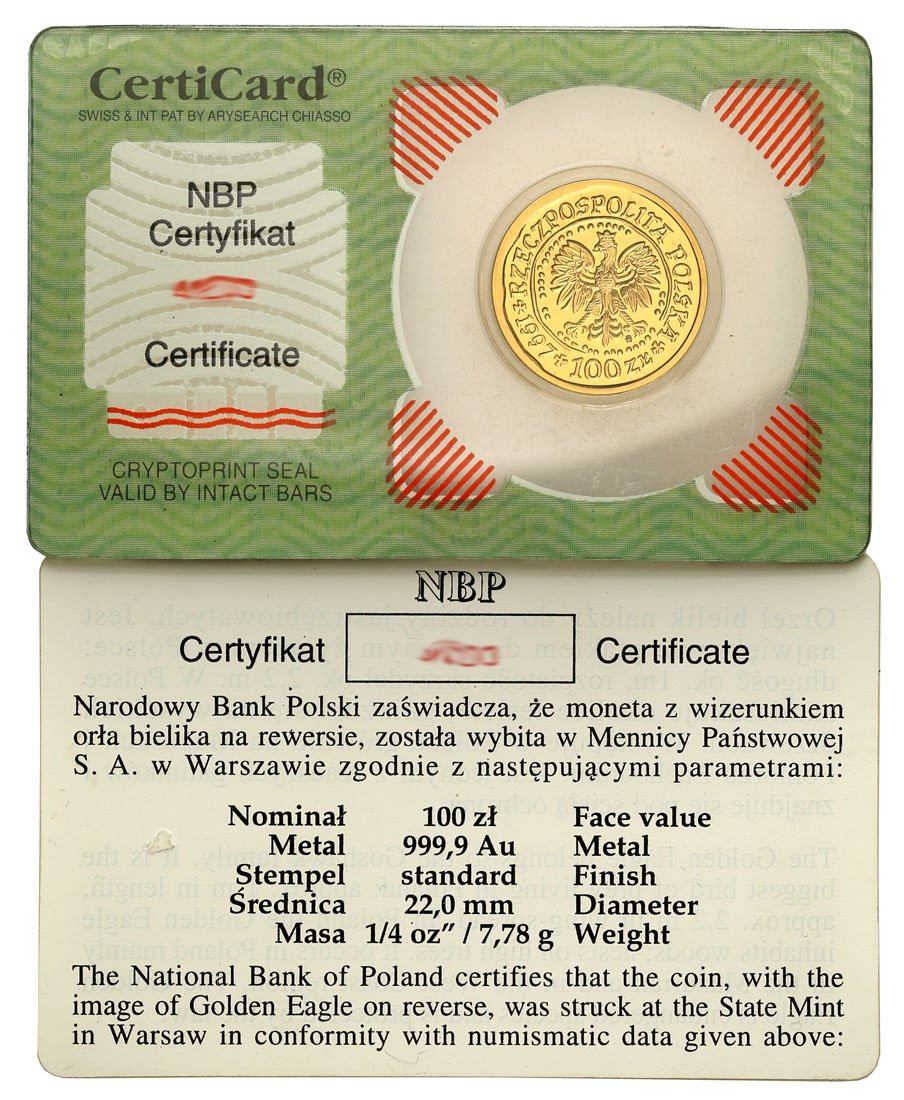 100 złotych 1997 Orzeł Bielik – 1/4 UNCJI ZŁOTA