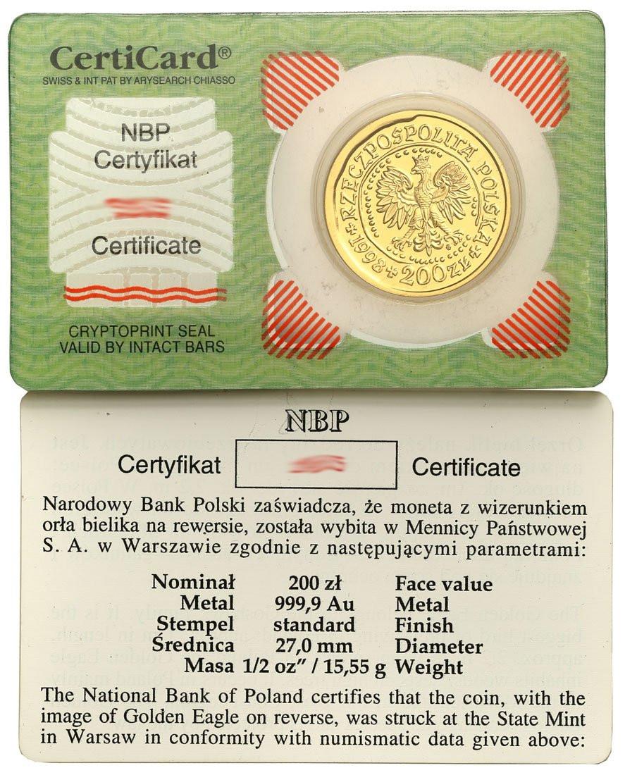 200 złotych 1998 Orzeł Bielik – 1/2 UNCJI ZŁOTA