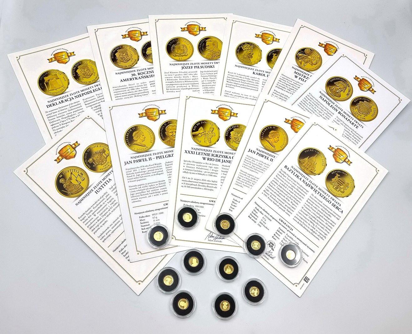 Świat najmniejsze monety złote - 11 sztuk