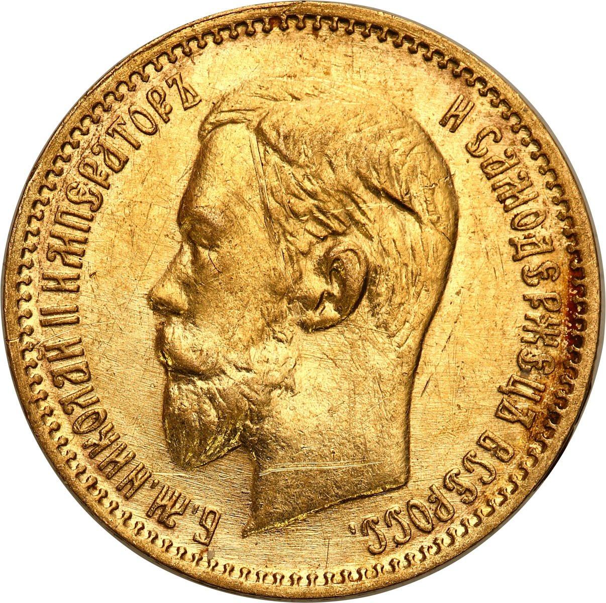 Rosja. Mikołaj II 5 rubli 1904 AP, Petersburg - PIĘKNE