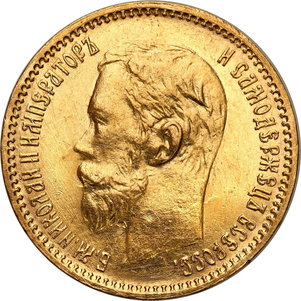 Rosja. Mikołaj II 5 rubli 1902 AP, Petersburg - PIĘKNE