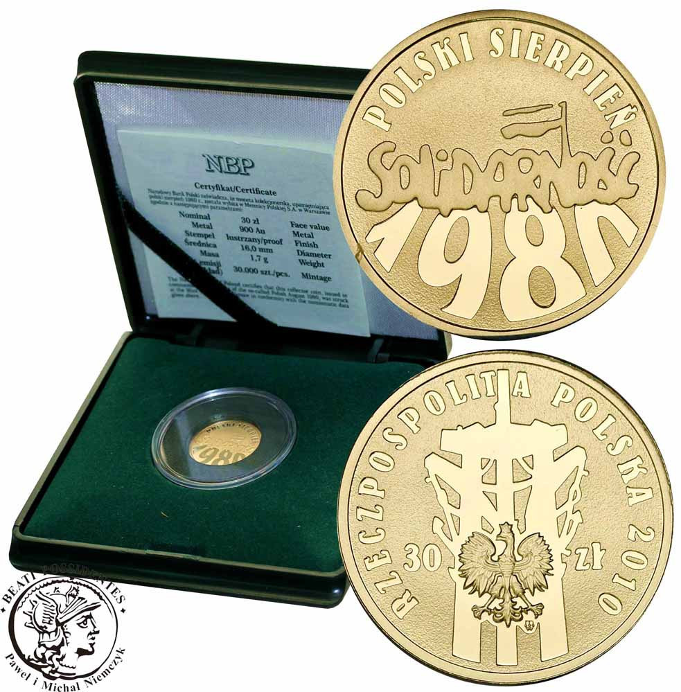 30 złotych 2010 Polski Sierpień 1980 Solidarność st.L