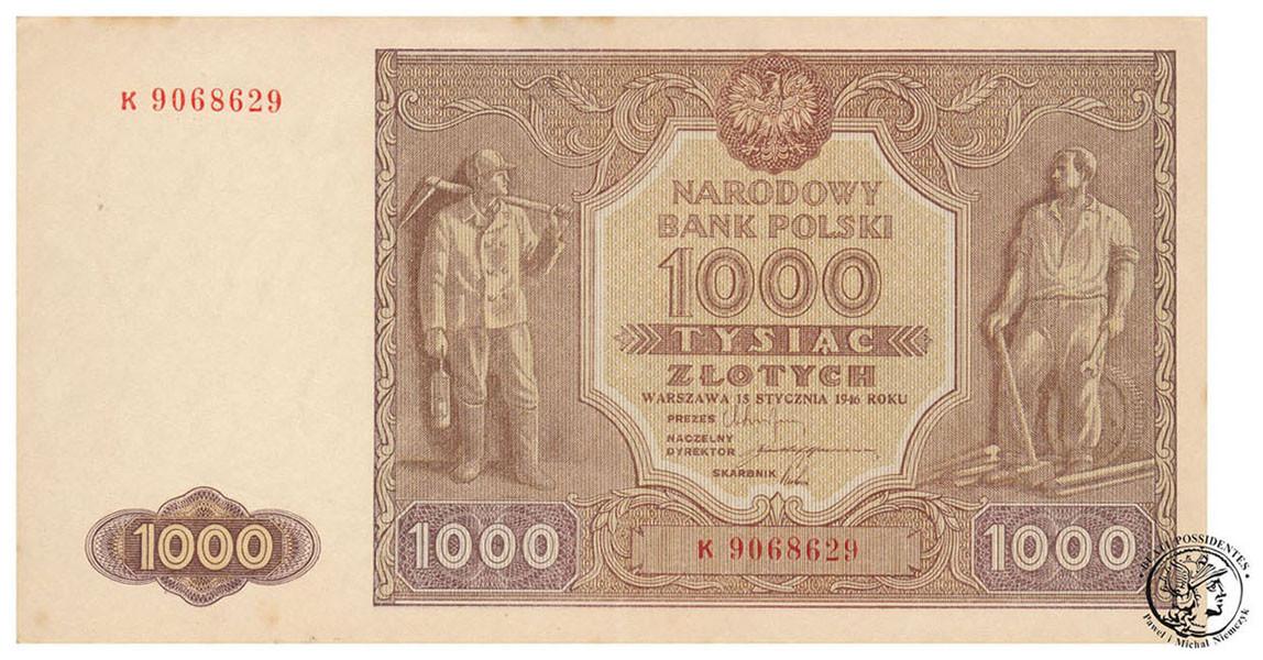 Banknot 1000 złotych 1946 st. 1- (UNC-)