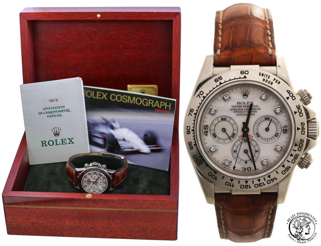 Zegarek ROLEX Daytona 16519 Białe złoto tarcza z masy perłowej i Brylanty