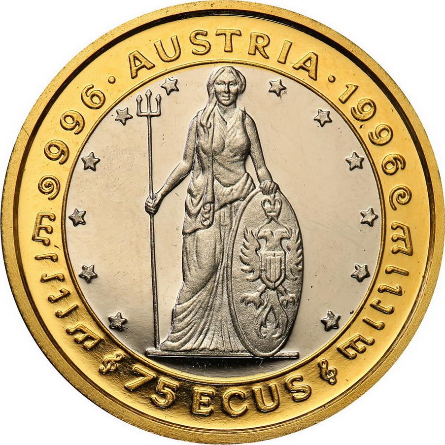 Gibraltar. 75 Ecus 1996 1000 lat Austrii platyna+Złoto (tylko 1500 szt)