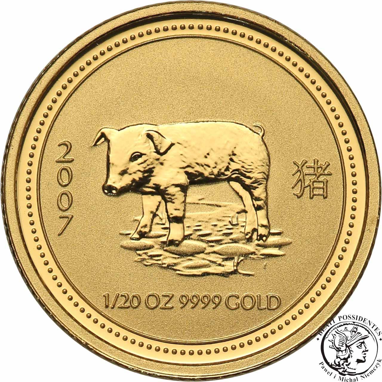 Australia 5 dolarów 2007 Rok ŚWINI Au.999 st.1